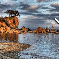 Wanduhr XXL 3D Optik Dixtime Küste Meer Felsen 50x70 cm leises Uhrwerk GR-040