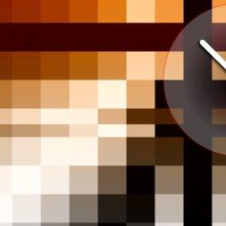Wanduhr XXL 3D Optik Dixtime orange schwarz Mosaik 50x70 cm leises Uhrwerk GR-037