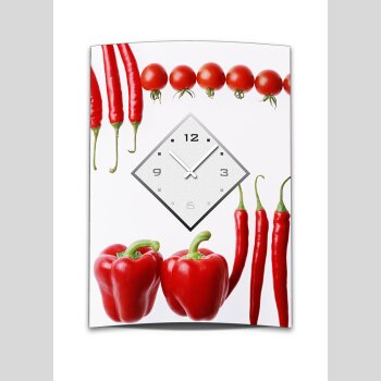 Wanduhr XXL 3D Optik Dixtime Tomate Paprika Chili 50x70 cm leises Uhrwerk GR-036