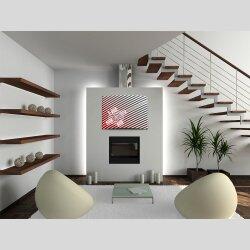 Wanduhr XXL 3D Optik Dixtime modern Streifen rot 50x70 cm leises Uhrwerk GR-034