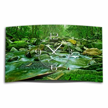 Motiv Bach Natur Designer Wanduhr modernes Wanduhren Design leise kein ticken DIXTIME 3D-0330