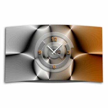 Abstrakt grau braun Designer Wanduhr modernes Wanduhren Design leise kein ticken DIXTIME 3D-0307