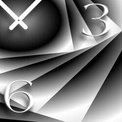Abstrakt grau Designer Wanduhr modernes Wanduhren Design leise kein ticken DIXTIME 3D-0303