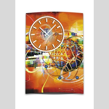 Wanduhr XXL 3D Optik Dixtime abstrakt orange 50x70 cm leises Uhrwerk GR-027