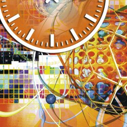 Wanduhr XXL 3D Optik Dixtime abstrakt orange 50x70 cm leises Uhrwerk GR-027