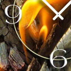Motiv Feuer Glut Designer Wanduhr modernes Wanduhren Design leise kein ticken DIXTIME 3D-0289