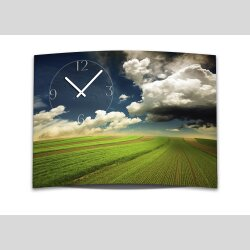 Wanduhr XXL 3D Optik Dixtime Felder Wolken Weite 50x70 cm...