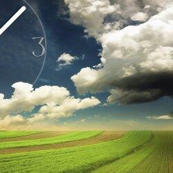 Wanduhr XXL 3D Optik Dixtime Felder Wolken Weite 50x70 cm leises Uhrwerk GR-025