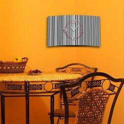 Muster Streifen grau Designer Wanduhr modernes Wanduhren Design leise kein ticken DIXTIME 3D-0279