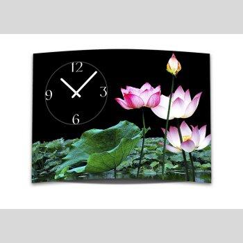 Wanduhr XXL 3D Optik Dixtime pink Lotus Blüte 50x70 cm leises Uhrwerk GR-024