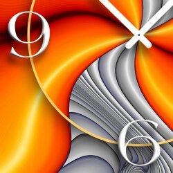 Abstrakt orange grau Designer Wanduhr modernes Wanduhren Design leise kein ticken DIXTIME 3D-0268