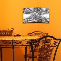 Digital Art grau abstrakt Designer Wanduhr modernes Wanduhren Design leise kein ticken DIXTIME 3D-0262