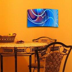 Abstrakt Digital Art blau Designer Wanduhr modernes Wanduhren Design leise kein ticken DIXTIME 3D-0258