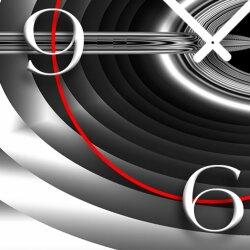 Abstrakt silbergrau schwarz Designer Wanduhr modernes Wanduhren Design leise kein ticken dixtime 3D-0253