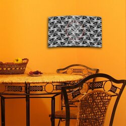 Abstrakt Muster grau schwarz Designer Wanduhr modernes Wanduhren Design leise kein ticken dixtime 3D-0252