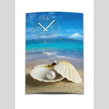 Wanduhr XXL 3D Optik Dixtime Strand Muschel Perle 50x70 cm leises Uhrwerk GR-022
