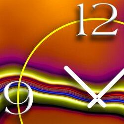 Abstrakt Farbverlauf orange Designer Wanduhr modernes Wanduhren Design leise kein ticken dixtime 3D-0250