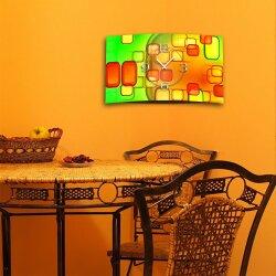 Retro grün orange Designer Wanduhr modernes Wanduhren Design leise kein ticken dixtime 3D-0246