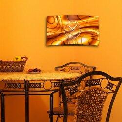 Abstrakt Kreise orange Designer Wanduhr modernes Wanduhren Design leise kein ticken dixtime 3D-0245