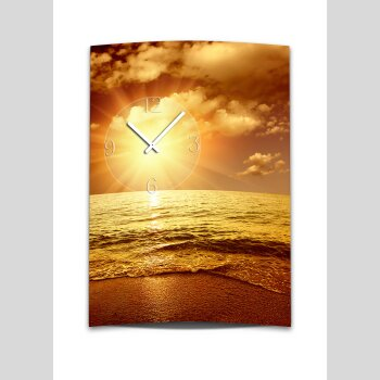 Wanduhr XXL 3D Optik Dixtime Sonnenuntergang Strand 50x70 cm leises Uhrwerk GR-021