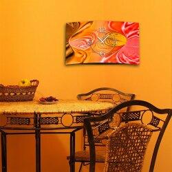 Abstrakt apricot pfirsich orange  Designer Wanduhr modernes Wanduhren Design leise kein ticken dixtime 3D-0229