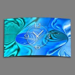 Abstrakt blau mint türkis Designer Wanduhr modernes...