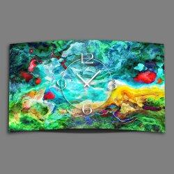 Abstrakt Wasserfarben bunt Designer Wanduhr modernes...