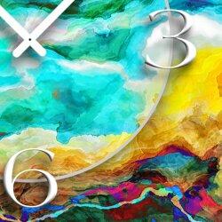 Abstrakt Wasserfarben bunt Designer Wanduhr modernes Wanduhren Design leise kein ticken dixtime 3D-0227