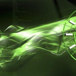 Wanduhr XXL 3D Optik Dixtime abstrakt grün schwarz 50x70 cm leises Uhrwerk GR-019