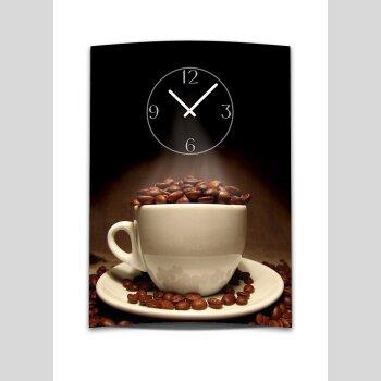 Wanduhr XXL 3D Optik Dixtime Kaffee Tasse Bohnen 50x70 cm leises Uhrwerk GR-018