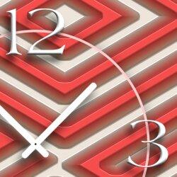 Abstrakt Labyrith rot Designer Wanduhr modernes Wanduhren Design leise kein ticken dixtime 3D-0205