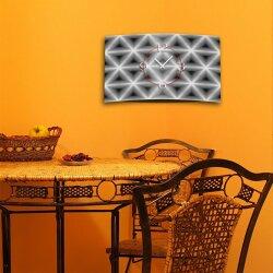 Abstrakt Rauten grau Designer Wanduhr modernes Wanduhren Design leise kein ticken dixtime 3D-0204