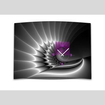 Wanduhr XXL 3D Optik Dixtime modern pink schwarz 50x70 cm leises Uhrwerk GR-017