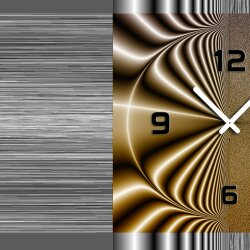 Wanduhr XXL 3D Optik Dixtime modern grau braun 50x70 cm leises Uhrwerk GR-016