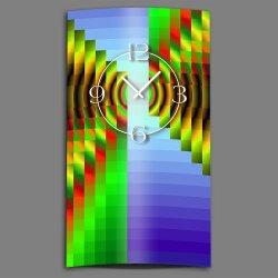 Psychodelic blau grün hochkant Designer Wanduhr modernes Wanduhren Design leise kein ticken dixtime 3D-0193
