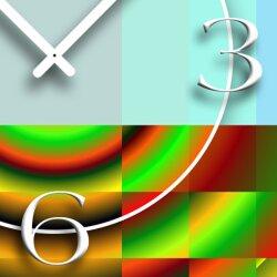 Psychodelic blau grün Designer Wanduhr modernes Wanduhren Design leise kein ticken dixtime 3D-0192