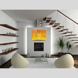 Wanduhr XXL 3D Optik Dixtime abstrakt orange Blüten...