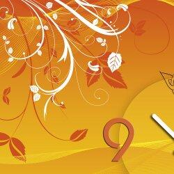 Wanduhr XXL 3D Optik Dixtime abstrakt orange Blüten 50x70 cm leises Uhrwerk GR-015