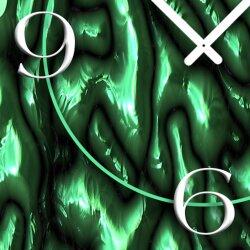 geschmolzenes Glas Gestein grün Designer Wanduhr modernes Wanduhren Design leise kein ticken dixtime 3D-0185