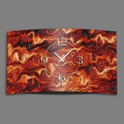 geschmolzenes Glas rot quer Designer Wanduhr modernes Wanduhren Design leise kein ticken dixtime 3D-0184