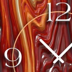 geschmolzenes Glas rot Designer Wanduhr modernes Wanduhren Design leise kein ticken dixtime 3D-0183