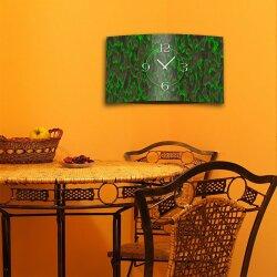 Abstrakt grün anthrazit Designer Wanduhr modernes Wanduhren Design leise kein ticken dixtime 3D-0182