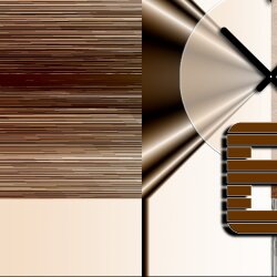 Wanduhr XXL 3D Optik Dixtime abstrakt braun weiß 50x70 cm leises Uhrwerk GR-014