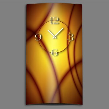 Abstrakt orange aubergine Designer Wanduhr modernes Wanduhren Design leise kein ticken dixtime 3D-0178