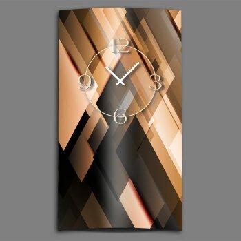 Abstrakt apricot schwarz Designer Wanduhr modernes Wanduhren Design leise kein ticken dixtime 3D-0177