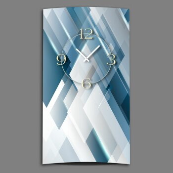 Abstrakt blau silbergrau Designer Wanduhr modernes Wanduhren Design leise kein ticken dixtime 3D-0176