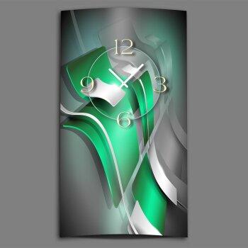 Abstrakt grün silbergrau Designer Wanduhr modernes Wanduhren Design leise kein ticken dixtime 3D-0175
