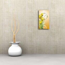 gelbe Tulpen Designer Wanduhr modernes Wanduhren Design leise kein ticken dixtime 3D-0171