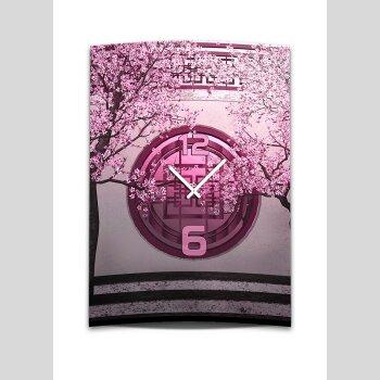 Wanduhr XXL 3D Optik Dixtime asiatisch pink Kirschblüten 50x70 cm leises Uhrwerk GR-013