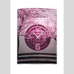Wanduhr XXL 3D Optik Dixtime asiatisch pink...